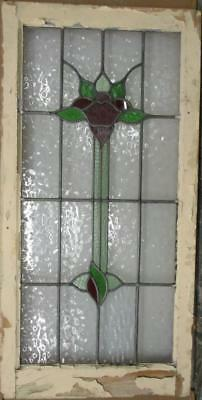 "LARGE OLD ENGLISH LEADED STAINED GLASS WINDOW Pretty Floral 21.25"" x 42.25"""