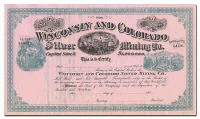 Wisconsin and Colorado Silver Mining Company Stock Certificate (1880's)