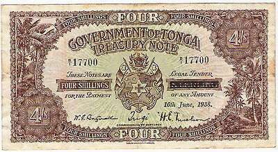 Government Of Tonga 4 Shillings 1938 Treasury Note - Very Scarce - Problem-Free