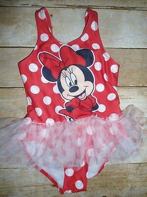Disney MINNIE MOUSE Girls POLKA DOT 1 pc SWIMSUIT w /Tulle TUTU 5t vacation