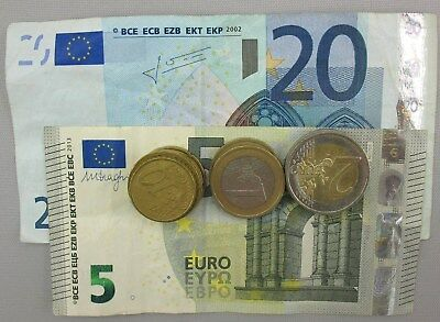 34 Euros Left Over from Travels - Bills and Coins - Circulated condition