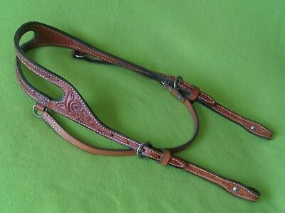 QUALITY Vintage TOOLED Leather Cowboy Western Horse HEADSTALL Bridle~NEW Cond~NR