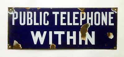 Very Old & Collectable Public Telephone Within Enamel Sign (Australian)