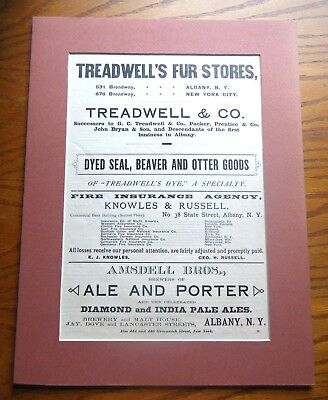 1890s Albany NY Broadside Ad Amsdell Bros Ale Brewers Treadwell Furs 12 x 16""