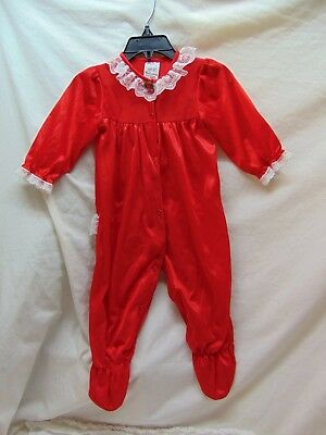 **Vintage** Baby Girl Size 9 Months Fancy Red w/ Lace Trim Polyester Sleeper