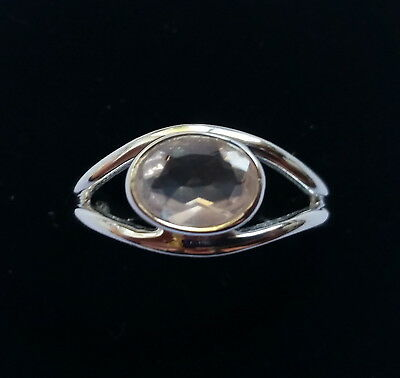 560 Rose Quartz Faceted Gemstone ring Solid 925 Sterling Silver size N/Q rrp $60
