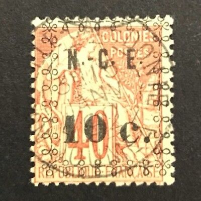 New Caledonia 1891 10c on 40c Red/Yellow Commerce Used. SG 14