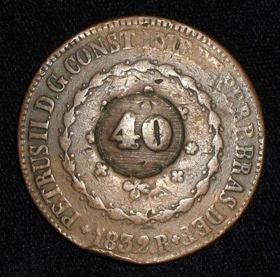 1832 / 1835, 40 Reis from Brazil.  No Reserve!