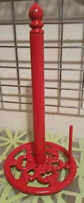 Vintage Retro Art Deco Red Cast Iron Metal Paper Towel Countertop Stand Holder