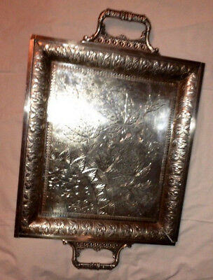 Important Antique Aesthetic Era XL Engraved Serving Tray Silver Civil War Butler