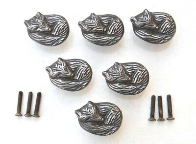 Vintage cast iron sleeping fox cabinet drawer door knobs handles pull rustic 6pc