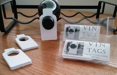 Wine storage tags, Vin Tags, NEW BLANK DESIGN, 2 packs of 50 wine tags.