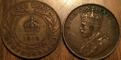 1919 Newfoundland Large 1 Cent Coin Penny G+ Buy 1 Or More Its Free Shipping!