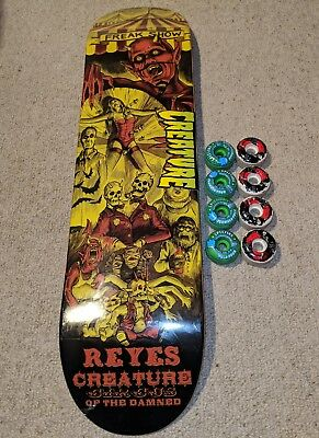 New Creature skateboard deck - Reyes Circus of the Damned series + bonus wheels