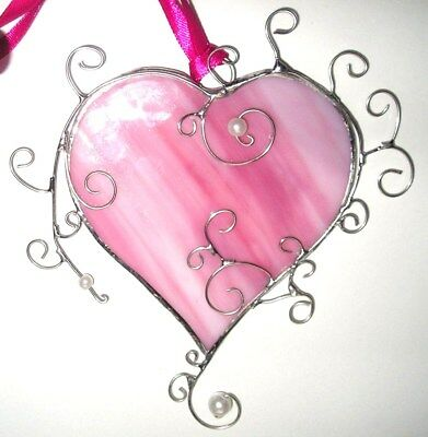 Stained Glass Pink Heart, Suncatcher, Hand Made in England