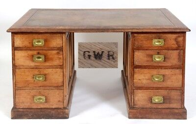 Rare Great Western Railways GWR Antique Solid Oak Partners Desk With Leather Top