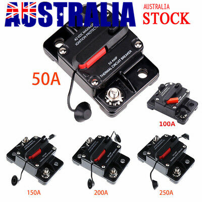 DC 12V-42V Auto Car Marine Stereo Audio Resetable 50A-250A Fuse Circuit Breaker