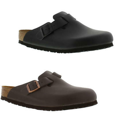 1a4f57610a42 Birkenstock Boston Leather Regular Fit Mens Womens Clogs Shoes Size 4.5-14.5