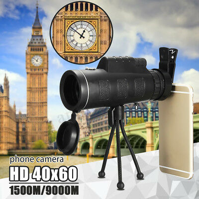 40X60 Zoom Optical HD Lens Monocular Telescope+Tripod+Clip for Mobile Cellphone