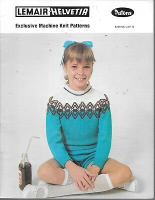 "Vintage machine knitting pattern lemair 22-30"" chest child jumper slacks shorts"