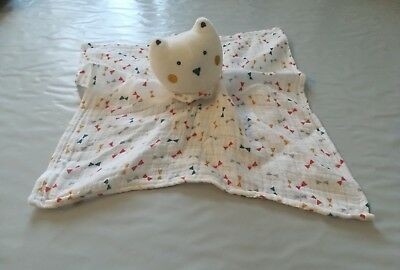 Doudou Chat ours blanc Plat Lange triangle Tape à L'oeil TAO NEUF