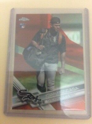 2017 topps chrome rookie orange parallel SP card of Yoan Moncada. numbered 1/25