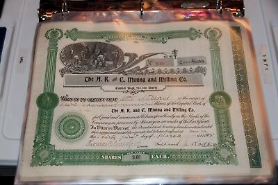 The A. R. and C. Mining and Milling Co. CO STOCK CERTIFICATE 1905 RARE!