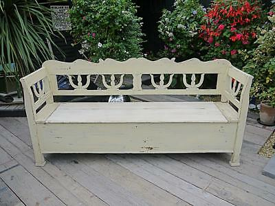 Gorgeous! Genuine Antique Painted Pine (Old Paint) Shabby Chic Box Bench/settle