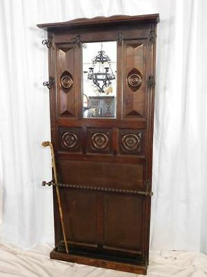 A GOOD 20thC ARTS & CRAFTS ANTIQUE OAK WALL MOUNTED HALL STAND - PAIR AVAILABLE!