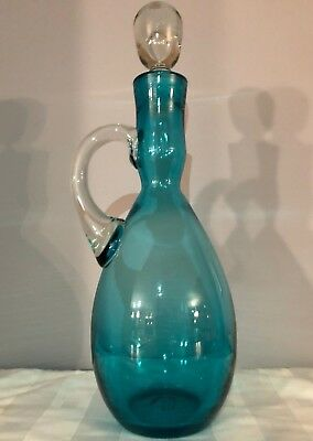 Vintage BISCHOFF BLUE GLASS DECANTER With BUBBLE STOPPER MCM BARWARE