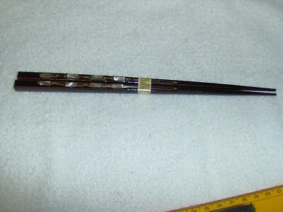 Vintage Pair Japanese Wood Inlaid Mother Of Pearl Lacquered Chopsticks
