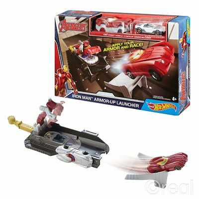 New Marvel Iron Man Armor-Up Launcher Track Hot Wheels Playset & 2 Cars Official
