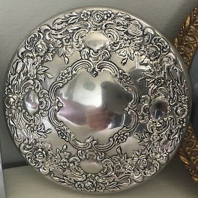 Antique Silver Plated Dressing Table Mirror Embossed Make-Up Compact Small 10cm
