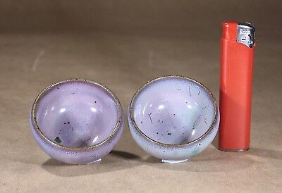 Vintage Chinese Jun Ware Bowls Pair