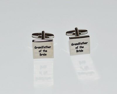 Grandfather Of The Bride Square  Engraved Cufflinks