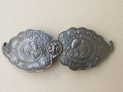 ANTIQUE OTTOMAN ERA Balkan Greek Flower Ornate SILVER  BELT BUCKLE  19th C.