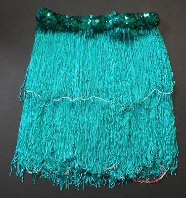 "NWOT 13"" Jade Chainette Fringe Skirt 1"" Sequin Waistband Dance Jazz Tap"
