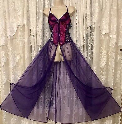 Vtg Sexy Frederick's Of Hollywood Purple Sheer Chiffon Nightgown 2X TALL NWT