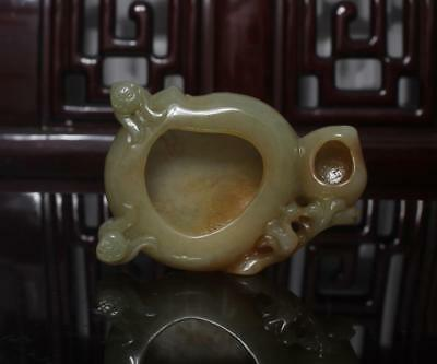 Old Chinese Celadon Nephrite Hetian Jade Brush Washer Statue Monkey and Peach
