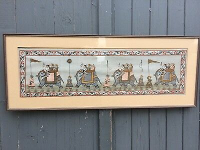 "Large Framed asian indian painting on silk elephant silk painting 43.5"" x 17"""