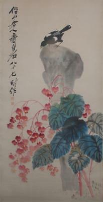 Chinese Old Qi Baishi Scroll Painting Flowers 76.77""