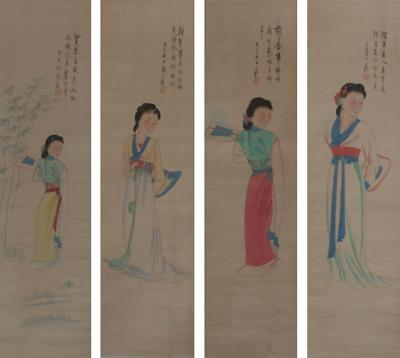 Four Chinese Old Zhang Daqian Scroll Painting of the Figures of Ladies 75""