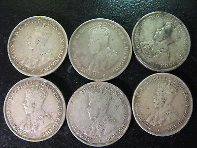Australia, 6 Different Date Toned Circulated Silver Florin Coins,