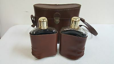 Flask Brandy Glass Bottle w/ Brown Leather Case and Shoulder Bag Handle Lot of 2