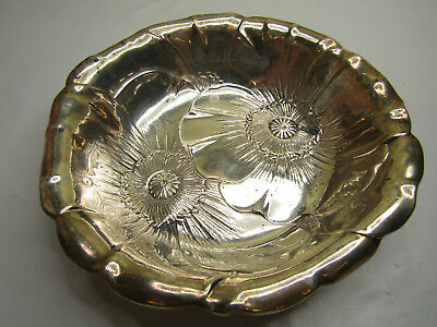 """Wallace Sterling Silver Jewelry Bowl Floral Design Flowers Petal Rim 6"""""""