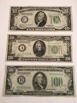 Lot of 3 1934 Federal Reserve Notes Currency Old Paper Money $10, $20, & $100
