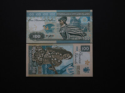 Pitcairn Islands Fantastic $100 Art Notes - Great Bounty Mutiny images MINT UNC