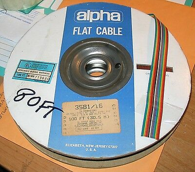 Alpha Rainbow Cable, 80 Feet, 16 Pin Conductors,no.hm719680, Size: 30.5 M