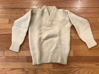 Vintage Hand Knit Sweater Small size LOOK Fisherman / Varsity