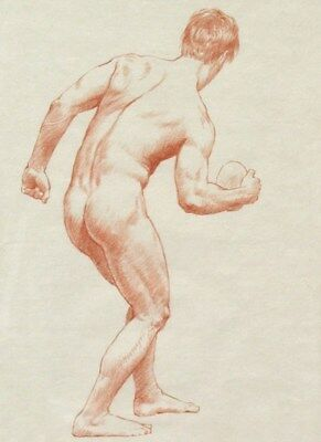 RED CHALK DRAWING, CLASSICAL ATHLETE WITH DISCUS nudemale bodybuilder muscle